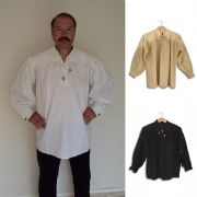 Cotton Shirt With Laced Neck & Button Sleeves